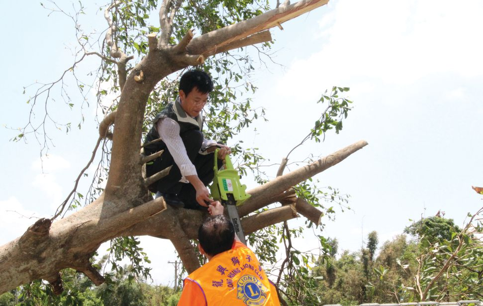 Lions from Multiple District 300 Taiwan remove damaged tree limbs after a typhoon.  Service is what Lions are all about.