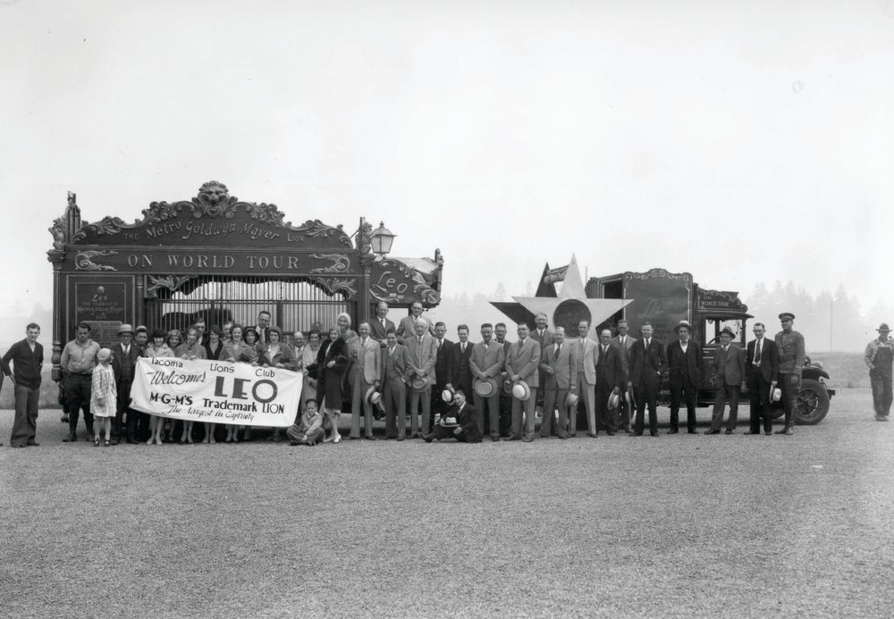 "In 1930, Lions in Tacoma, Washington, welcome Leo the Lion, the ""face"" of Metro Goldwyn Mayer films."