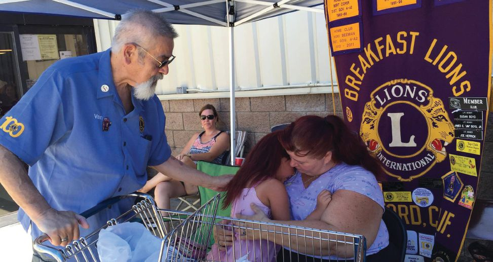 William VanLandingham of the Visalia Pride Lions Club and members of the Hanford Breakfast Lions Clubs, the Hanford Leo Club and other clubs in California came together to provide food, gas, supplies and toys to families who lost their homes to fires in Lake Isabella.  Clubs will continue to meet local needs even as Lions Clubs International promotes a new service platform.