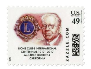 Lions in California arranged for a private issue stamp to mark the centennial.