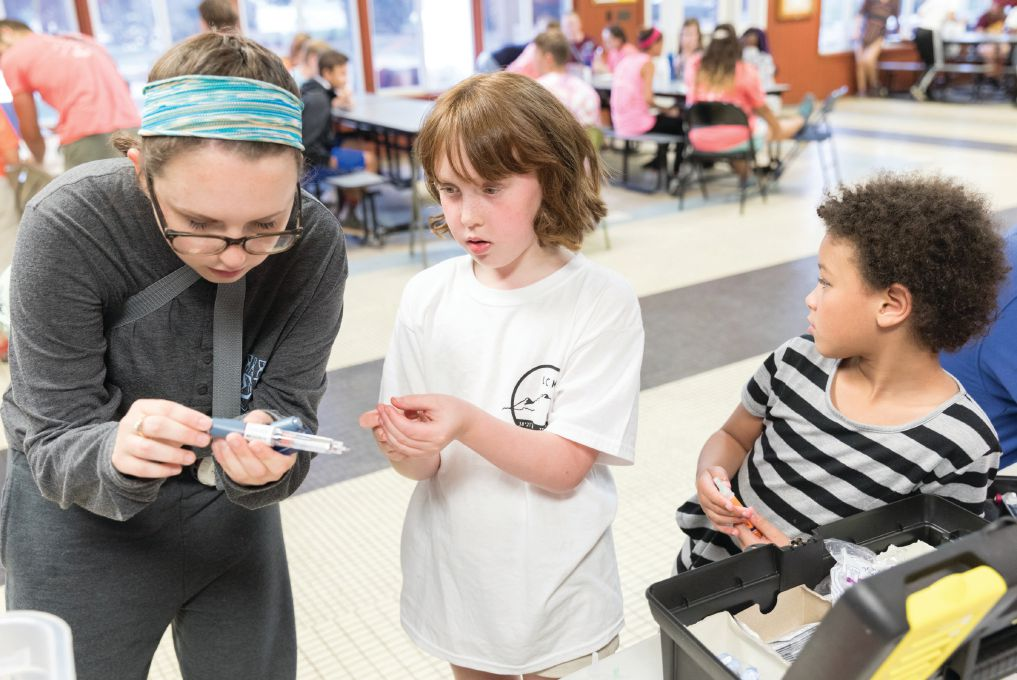 Children at Lions Camp Merrick in Maryland learn about managing their diabetes.