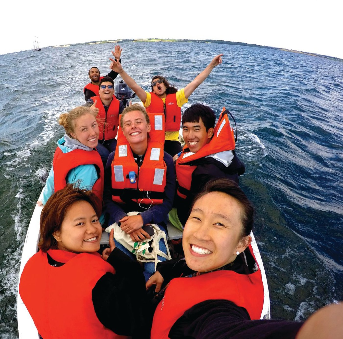 A selfie of Katie Wong (first row, right) shows her on an outing with fellow participants in a Youth Camp and Exchange Program.