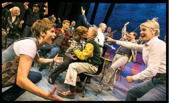 """""""Come from Away"""" is a """"big bearhug of a musical,"""" according to the New York Times."""