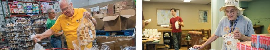 Lion Jim Woodring (left) sorts bread at Loaves & Fishes food pantry in Naperville, Illinois. Louise Schuster (right) finds healthy foods at a pop-up pantry in an apartment building for low-income seniors in Wheaton, Illinois. Photos by Alex Garcia.