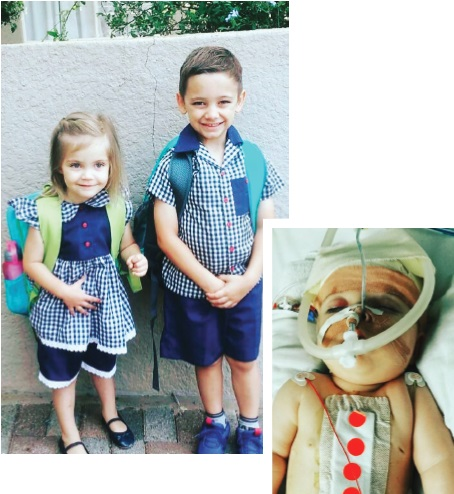 Carli in the hospital after her birth and now, attending her first day of school.