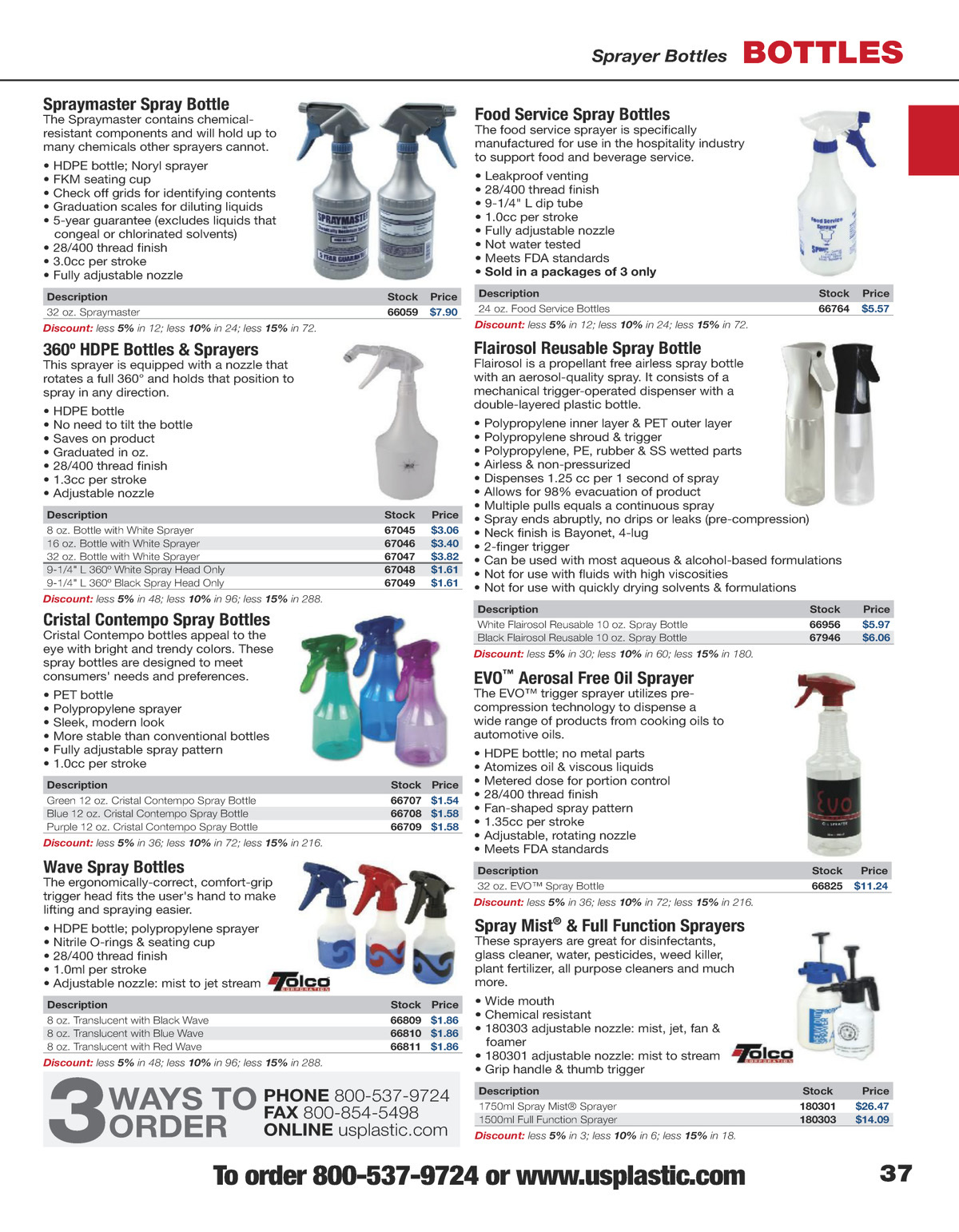 """Plastic Spray Bottle for Food Service Industry Labeled /""""Oil/"""" 4 PK"""