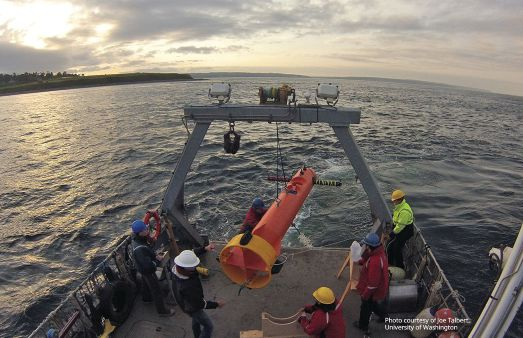 StableMoor® Mooring Buoy being recovered by the University of Washington while conducting a research study on turbulence for the National Renewable Energy Laboratory. Photo credit: Joe Talbert, University of Washington.