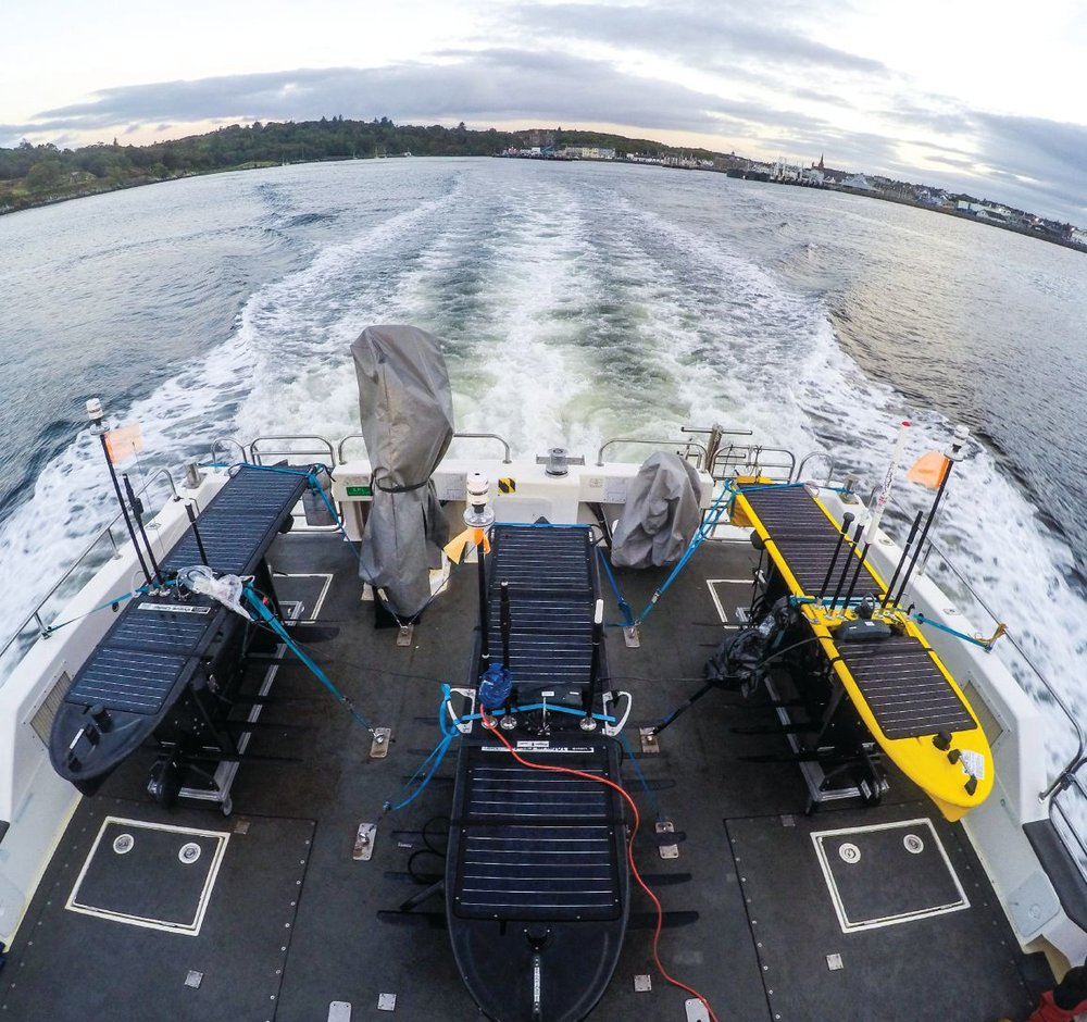 Fleet of Wave Gliders deploying for Unmanned Warrior 2016.