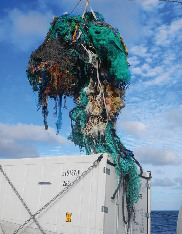 Ghost net aboard the Mega Expedition mothership R/V Ocean Starr. Photo credit: The Ocean Cleanup. 4 of 5