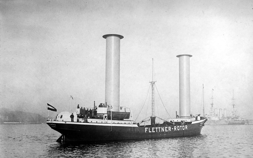 The Flettner-Rotor Ship Buckau. The rotor ship could tack (sail into the wind) at 20 to 30 degrees, but the rotors were not as efficient as propeller systems.