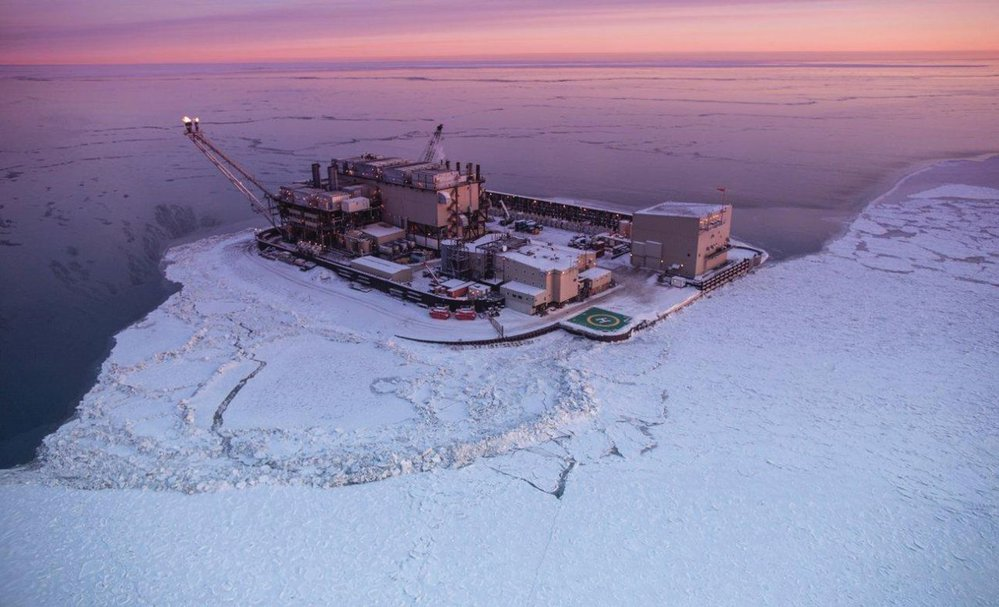 Northstar Island is a 5-acre artificial island in the Beaufort Sea. It was created to develop the Northstar Oil Pool, which is located approximately 12,500 feet below the seabed. Photo credit: Hilcorp.