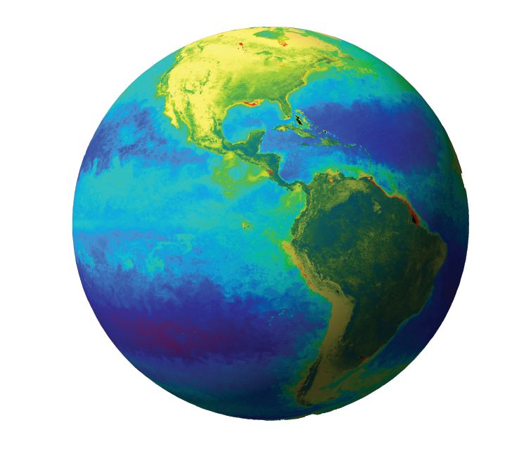 On September 20, 1997 SeaWiFS collected its first complete day's worth of ocean color data. Ten years later it continues to collect the data that have greatly enhanced our knowledge of the ecology of Earth's oceans. Photo credit: svs.gsfc.nasa.gov.