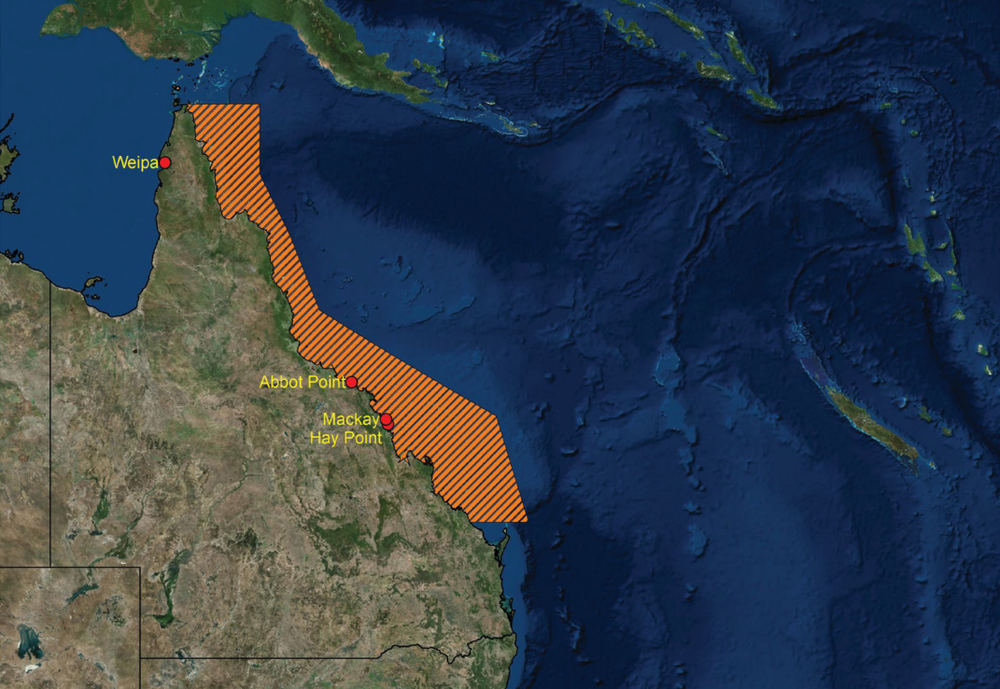 Queensland coastline showing Great Barrier Reef World Heritage area and location of 