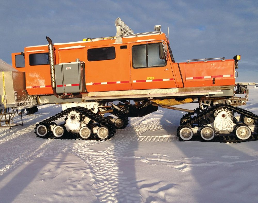 Once the Beaufort Sea freezes solid, inspectors can travel back and forth to Northstar Island via track vehicles, such as the one shown here. Photo credit: Michael Jordan, Inspector, Alaska Outer Continental Shelf Region, BSEE.
