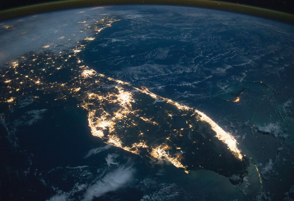 Florida at Night (2014). The brightest continuous patch of lights is the Miami-Fort Lauderdale metropolitan area, the largest urban area in the southeastern U.S. and home to 5.6 million people. Image Source: NASA Earth Observatory.