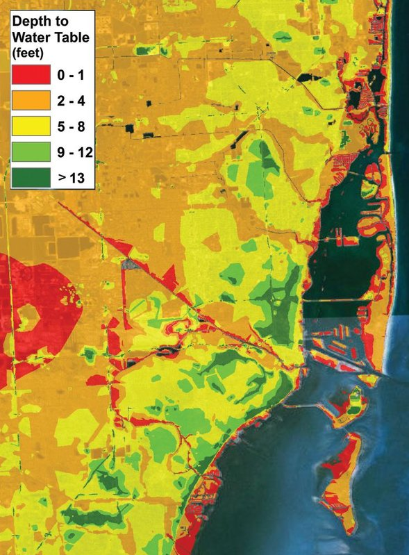 Map of the Miami area where colors indicate the shallow depth of the water table. The water table rises as sea level rises, increasing the salinity of freshwater aquifers. These aquifers provide much of the local drinking water supply. Credit: Dr. Keren Bolter, Florida Atlantic University Center for Environmental Studies (CES).