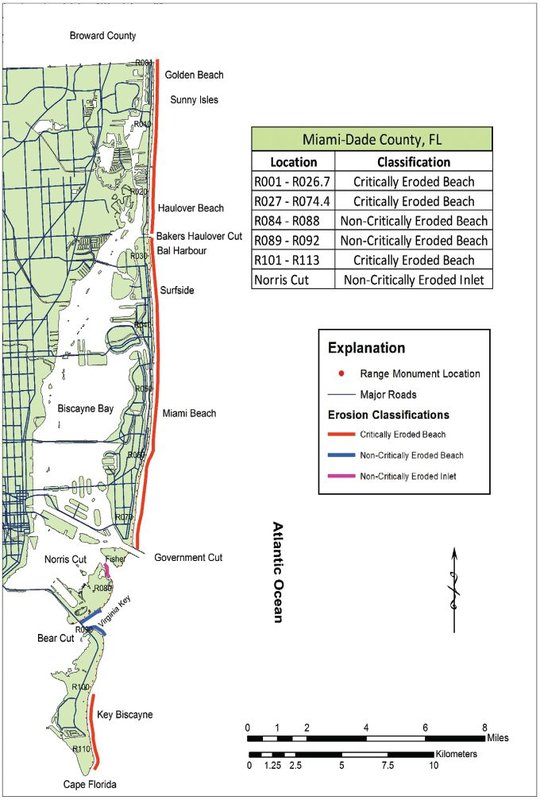 Almost all of the shoreline within Dade County, Florida is critcially eroded. Image from the publication Critically Eroded Beaches in Florida, Division of Water Resource Management, Florida Department of Environmental Protection, August 2016. www.dep.state.fl.us/beaches/publications/pdf/CriticalErosionReport.pdf.