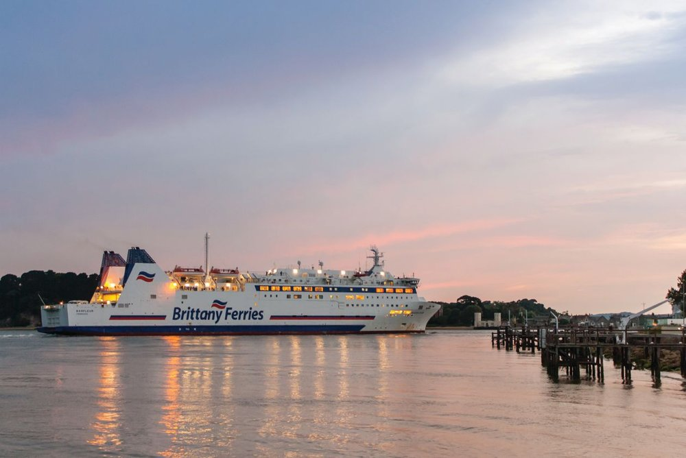 A Brittany Ferries ship arrives from France to Poole harbour in England.