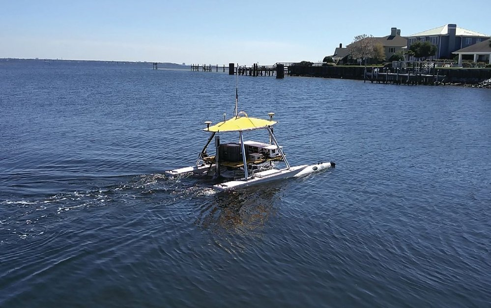 USV-2600, integrated with survey sensors, underway in Bayou Chico.