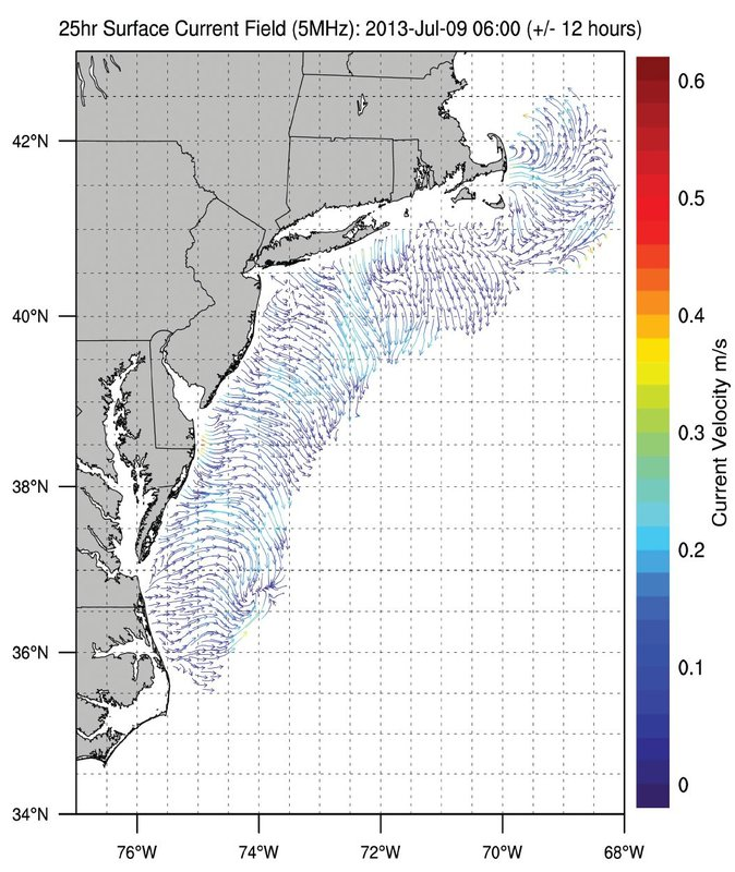 Graph depicting real-time surface currents moving at a speed of 1 meter per second generated by Mid-Atlantic Reginal Coastal Ocean Observing System (MARACOOS) on May 5, 2017 at 16:00. 5 of 8