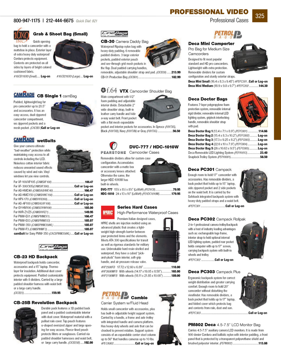 Camcorder Cases CamRade CB-Single Small Cambag Carring Case for ...