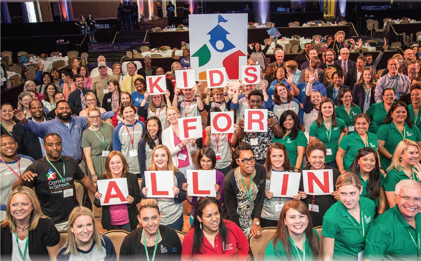 "Staff at Communities In Schools take part in the ""All In For Kids Town Hall."""