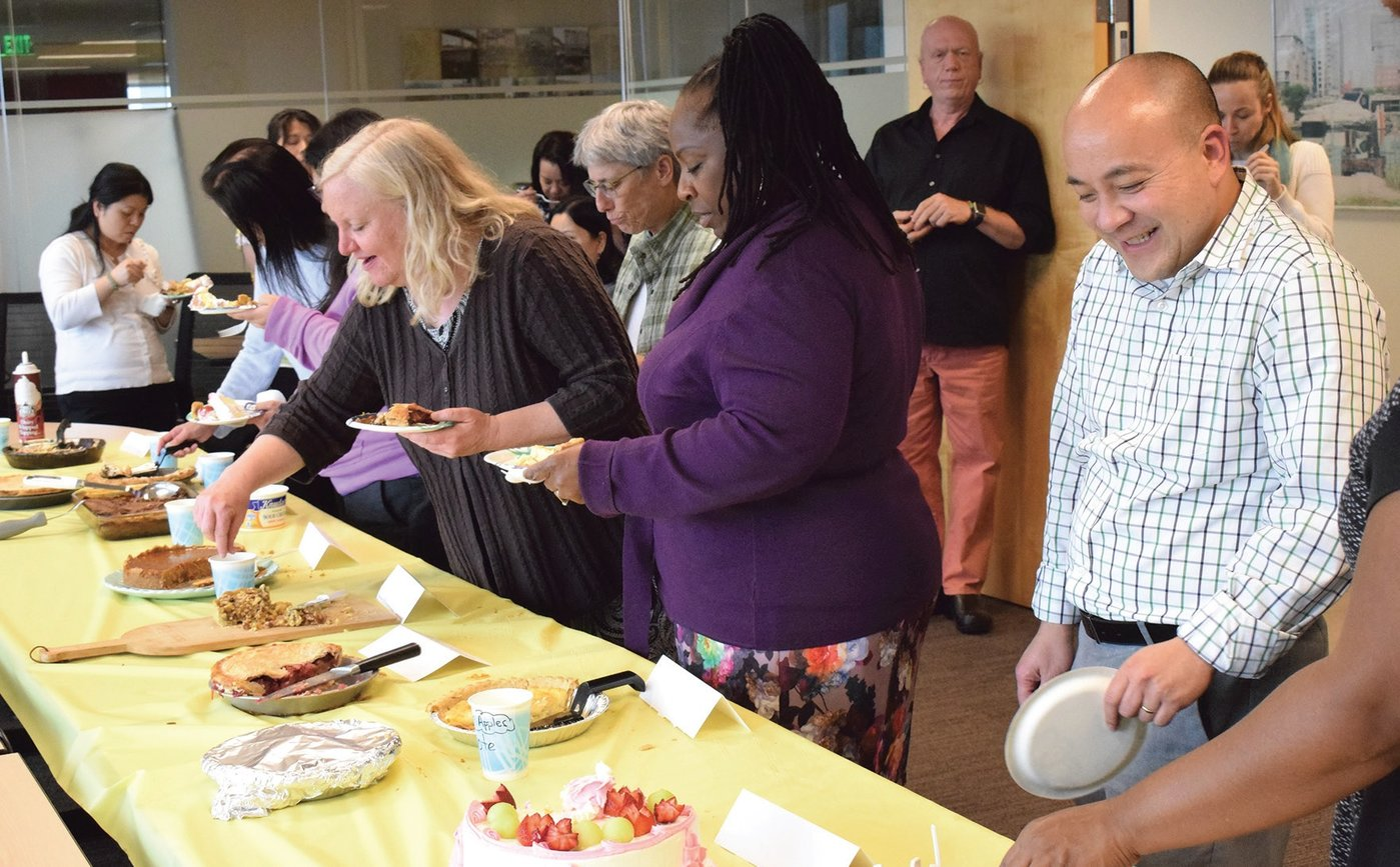 The Public Health Institute's staff development includes healthy eating and sampling together.