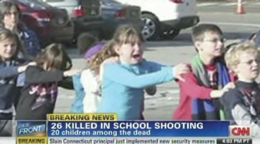 Live scene after shooting at Sandy Hook Elementary School, in Newtown, Conn. on Dec.12, 2014.