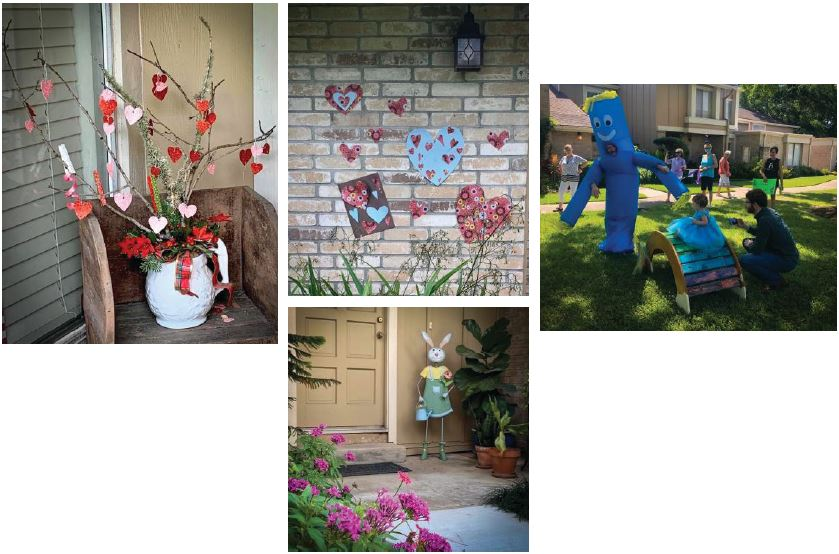 TOWNHOME HEARTS. Residents at Village Place Townhomes in Houston placed hearts around their neighborhood as a show of support, which later sparked a community-wide scavenger hunt. The association also organized a birthday parade for a 1-year-old resident in early May.