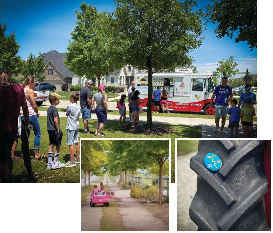 TEXAN TOGETHERNESS. Harvest, a large-scale community in Argyle, Texas, has encouraged residents to spend time outdoors—while social distancing— with trail walks, art projects, and hosting a Mother's Day ice cream social.