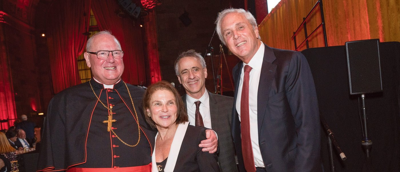 Timothy Cardinal Dolan, Tovah Feldshuh, Dr. Joshua Plaut and AFRMC President Ron Cohen at the 2018 gala