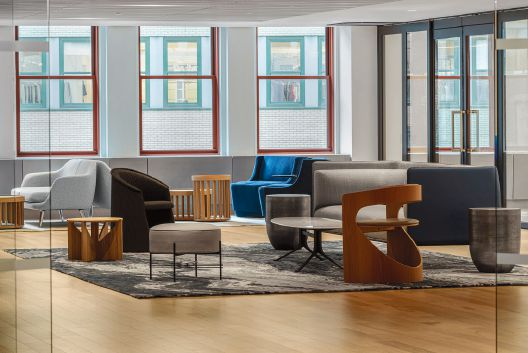 The offices contain a variety of gathering spaces