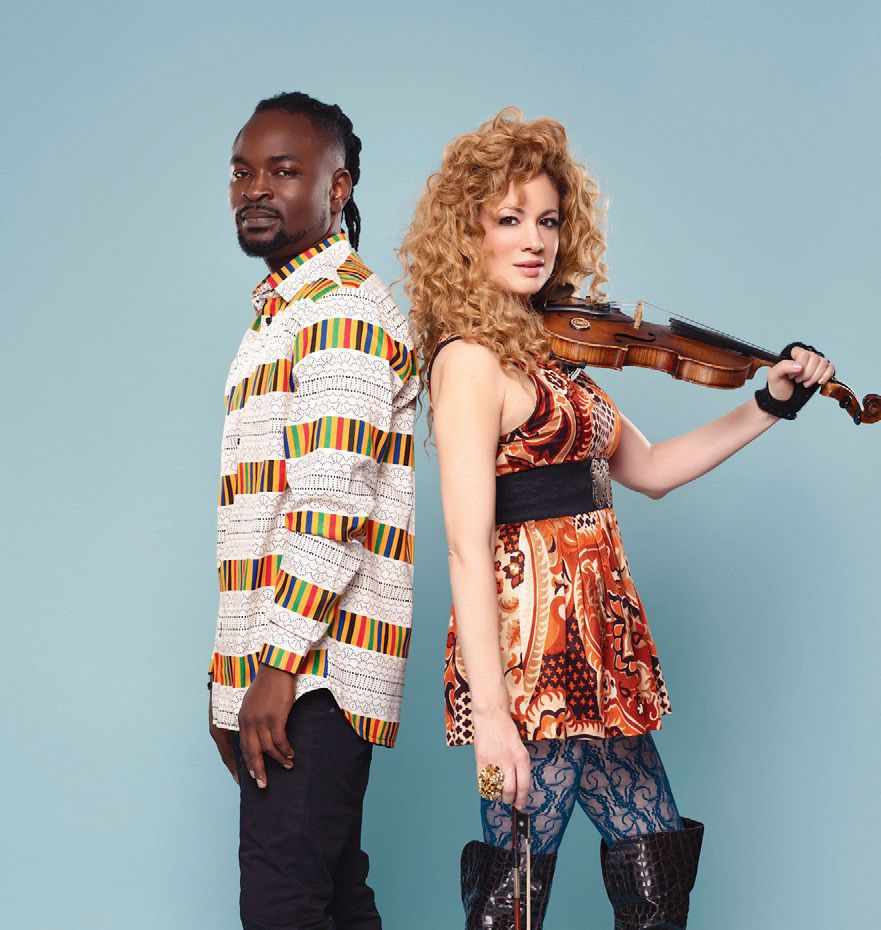 Afrostringz, comprised of Young D and Miri Ben-Ari, represents a philosophy: Mixing the rhythm of Africa with the sound of strings to create harmony through music and bridge between communities. Photograph courtesy of Collete Bonaparte