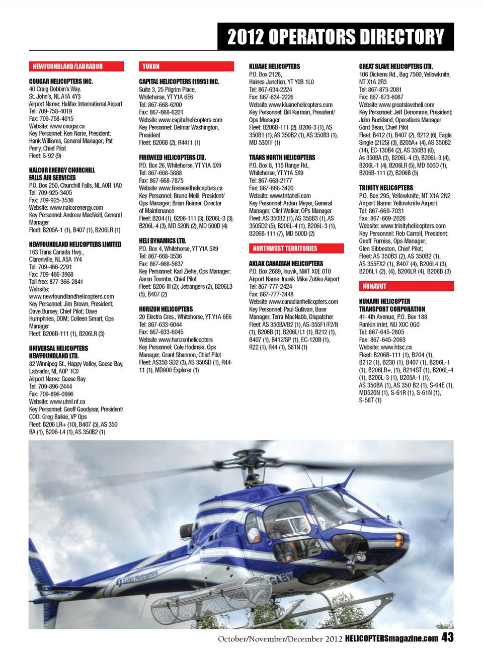 Helicopters October November December 2012