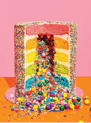 One of Amirah Kassem's colorful (and explosive!) cakes available at the new Flour Shop in Beverly Hills PHOTO BY HENRY HARGREAVES