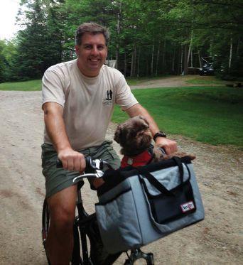 Gizmo biking with John