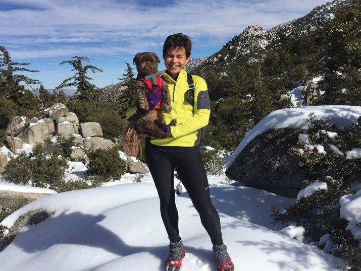 Gizmo and Lori hiking up Black Mountain
