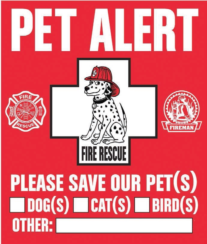 Pet alert stickers such as this can be found at your local pet store.