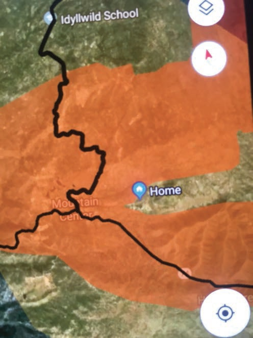 "A GPS fire map with the sanctuary marked ""Home."""