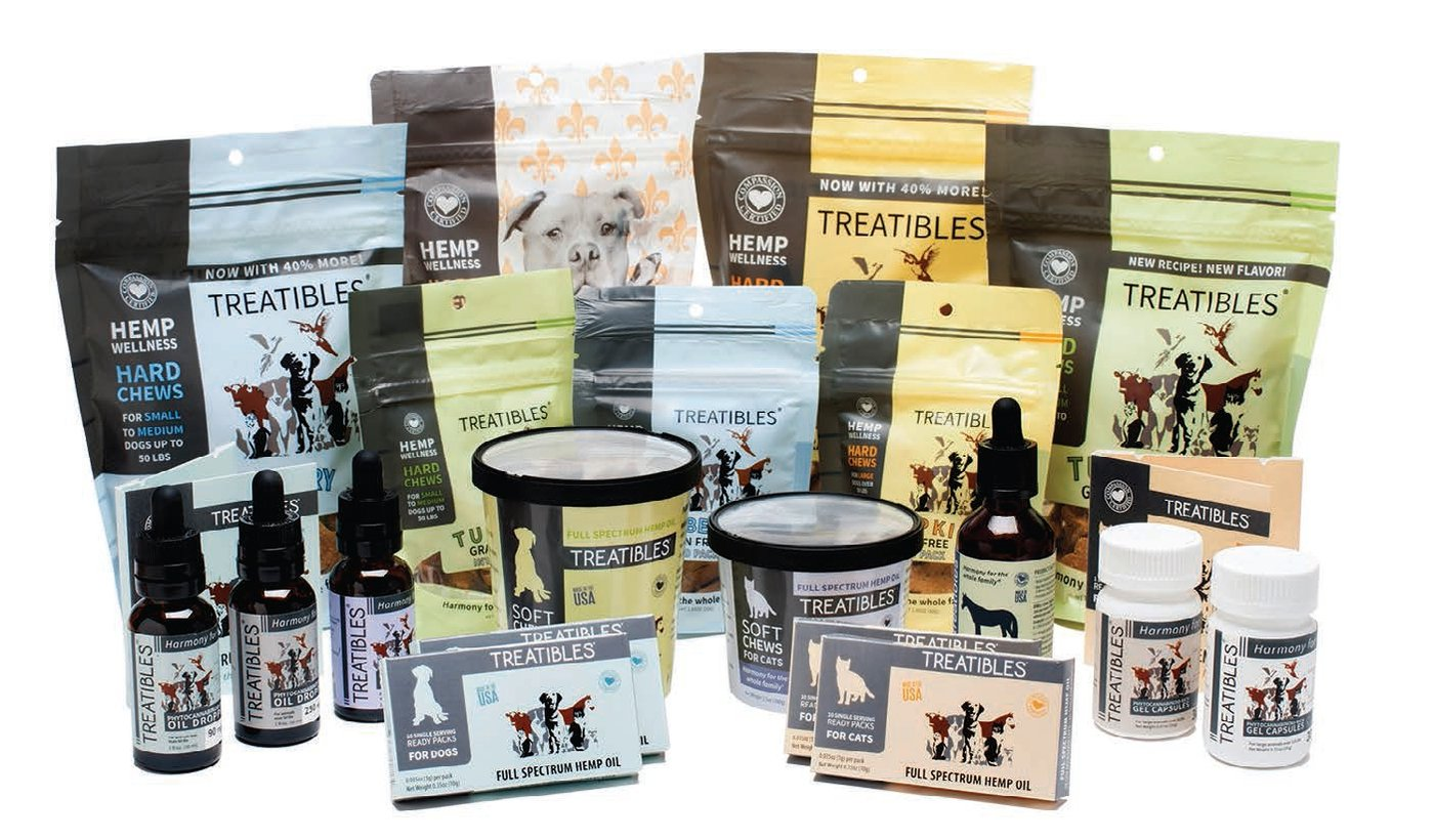 There is a wide variety of products available for your pet, Treatibles®, for example makes functional chews, tinctures and supplements containing full-spectrum hemp oils