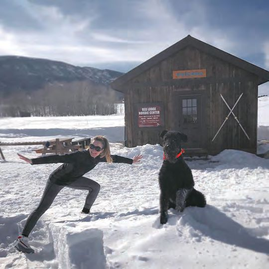 Scott and Barclay cross-country skiing in Red Lodge, Montana
