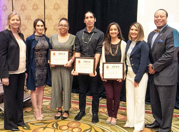 HONDA'S OID PRESENTS NATIVE AMERICAN STUDENTS CLEMENTINE BORDEAUX, MARCUS BEAR EAGLE AND RENEE WHITE EYES WITH CHAMBER SCHOLARSHIPS.
