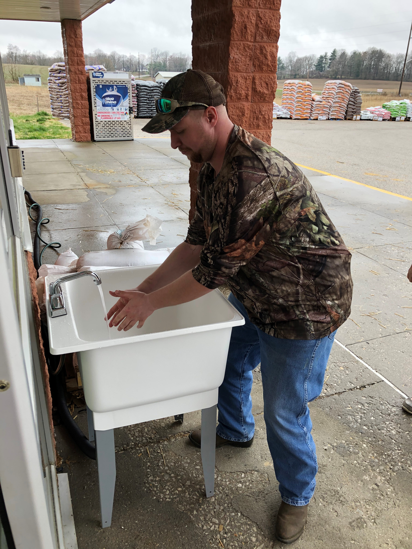 Petersburg Do it Best Hardware in Petersburg, Ind., put in a hand-washing station in the front of the store.