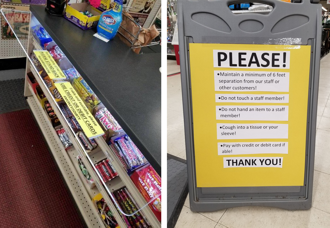 Dave's Ace in Milton, Wis., uses this sign to alert customers to proper social distancing and safety procedures, and they have also installed a counter guard at the checkout.