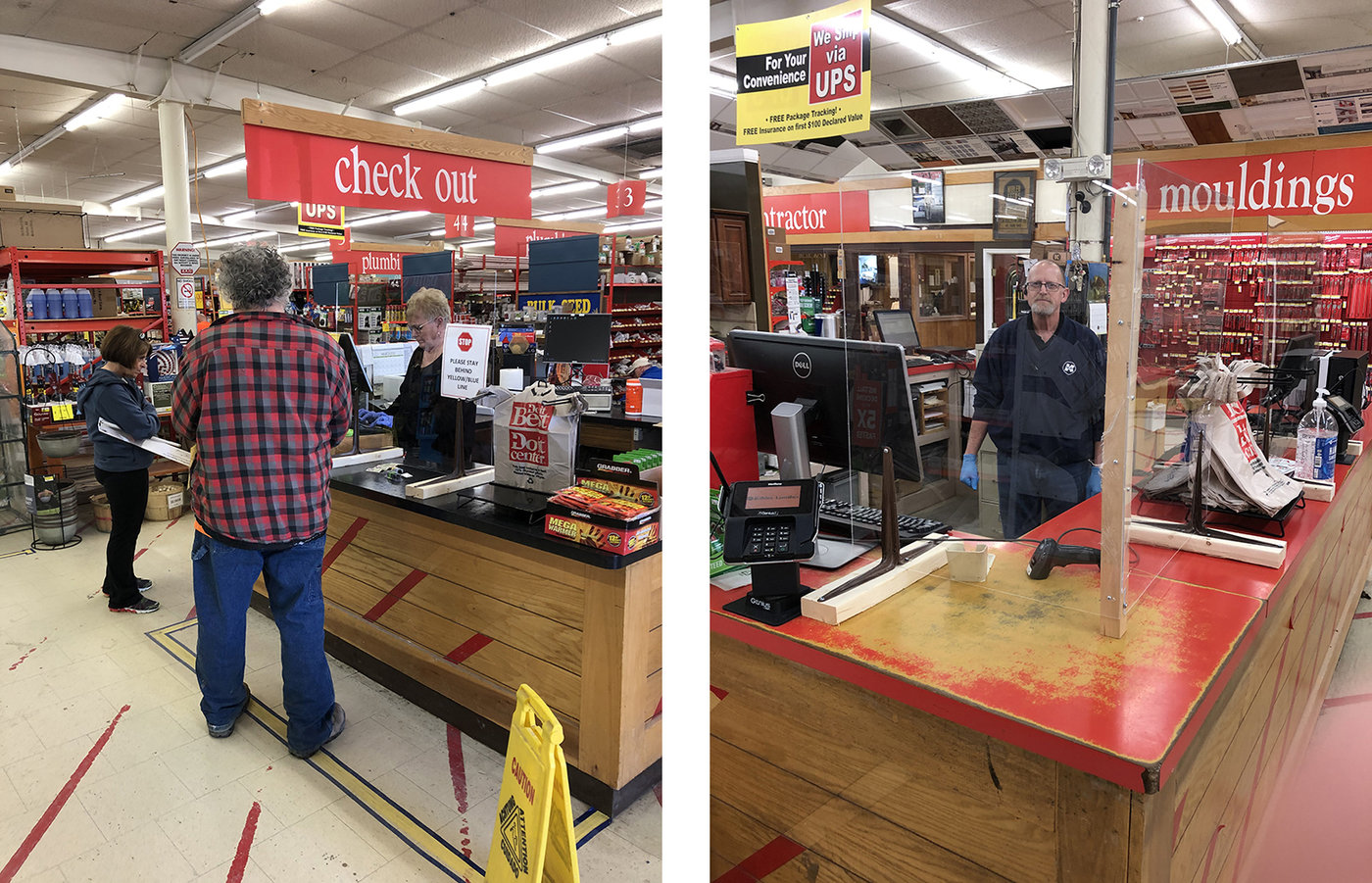 David Bohl of Kibler Lumber installed plexiglass shields at the checkout counter to create a safety barrier between customers and frontline staff. A sign informs customers to stay behind the blue and yellow line.