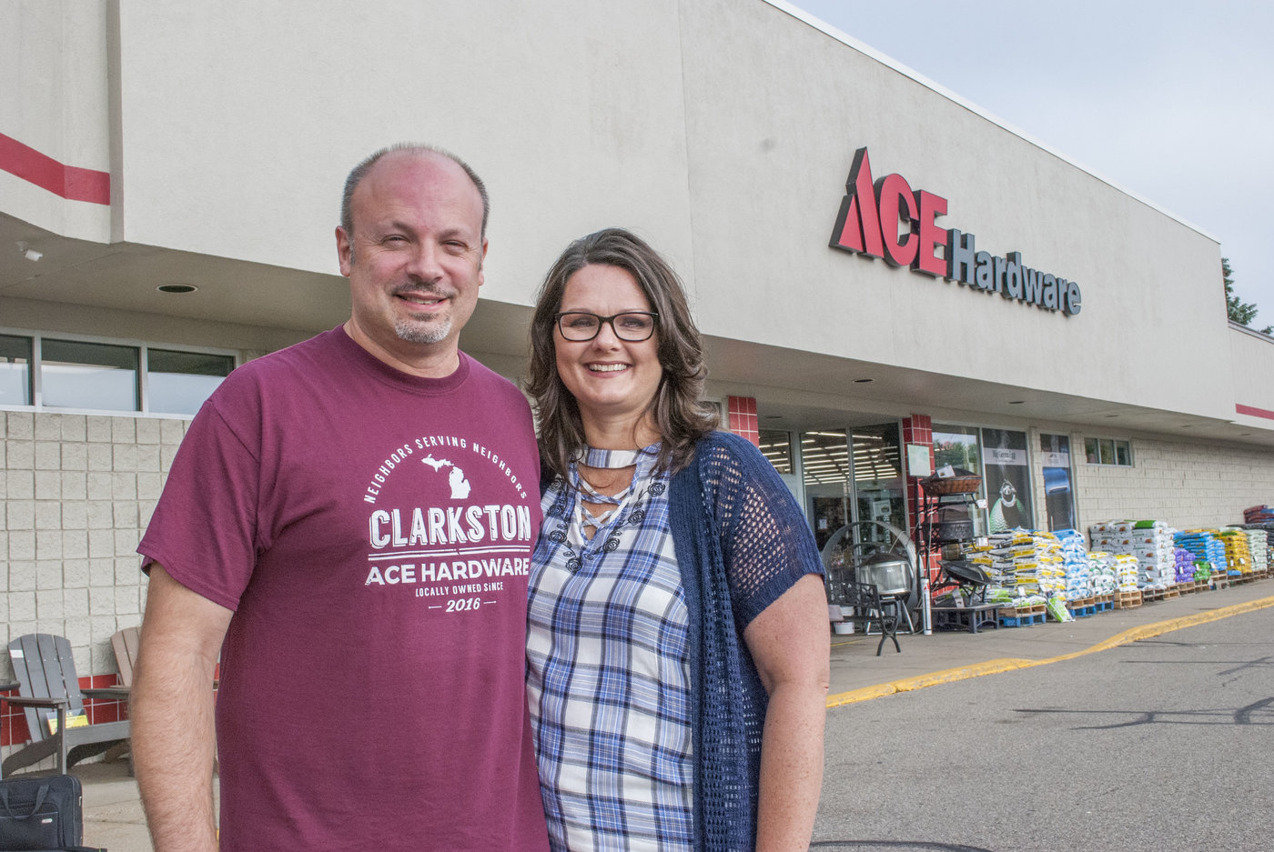 "Jason and Melanie Haley operate Ace Hardware of Clarkston in Mich., where their store motto of ""Neighbors Serving Neighbors"" now takes on new meaning."