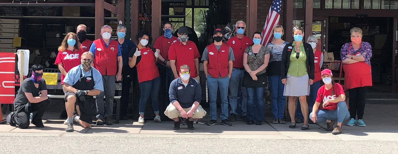 The team at Steamboat Ace Hardware in Colorado is masked up and ready to serve.
