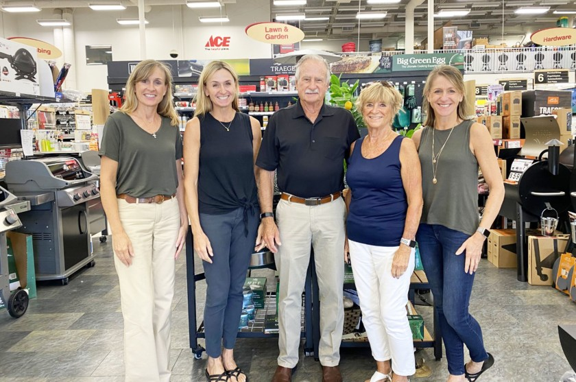 Shannon Carney, Kelly Hollingsworth, Bill Griffin, Sharon Griffin and Stacey Jess are the family owners behind Griffin Ace Hardware.