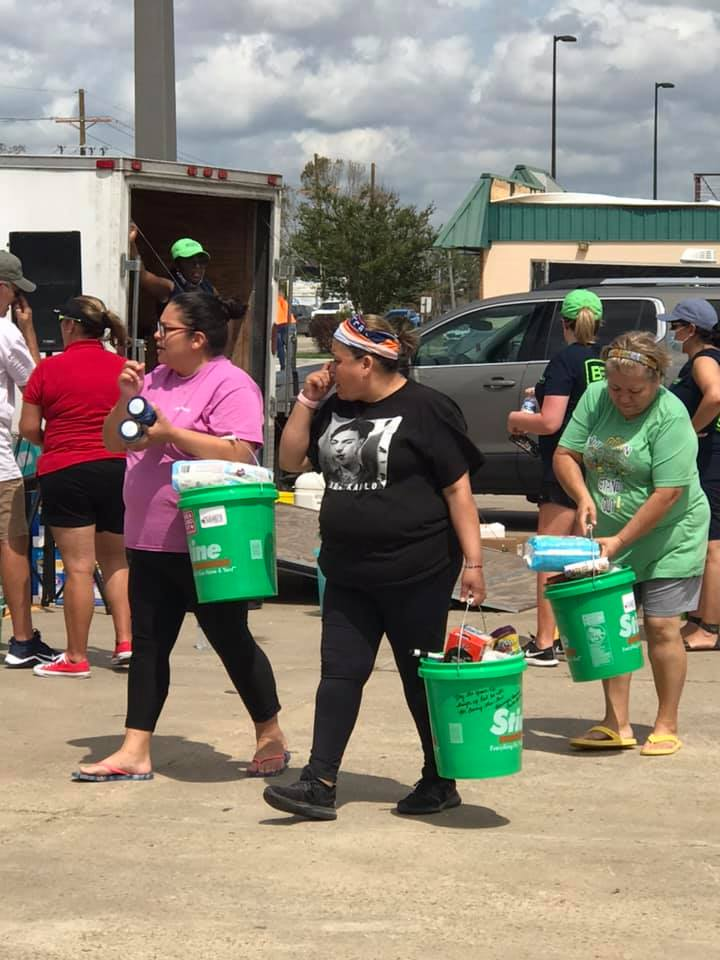 Stine Home + Yard gave out buckets of essential supplies to customers impacted by Hurricane Laura.