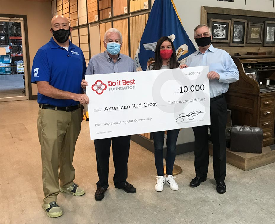 From L to R: Ben Canady, general manager of Holmes Building Materials; Roy Jones, Do it Best territory sales manager; Emily Sparks, American Red Cross regional philanthropy officer; and Red Cross Board Member Regi Mullins.